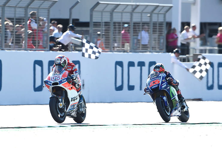 The chequered flag drops at the end of the Silverstone MotoGP race
