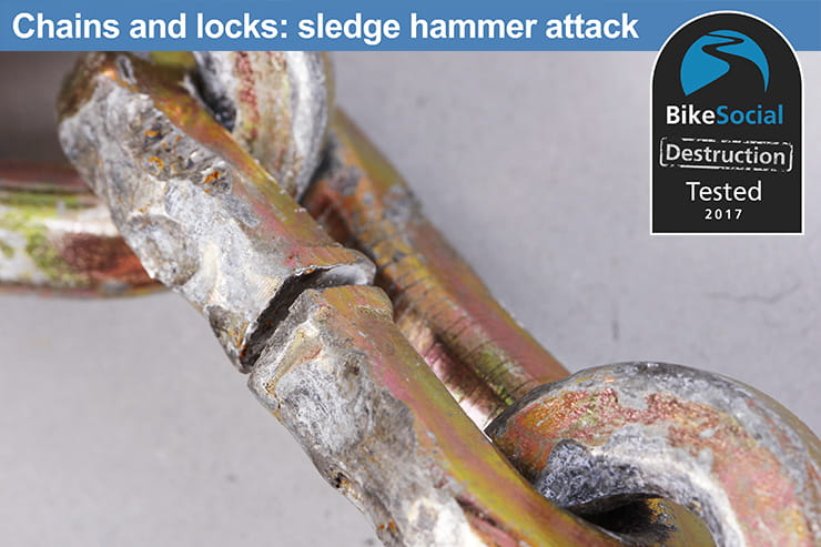Abus Granit 58 Lock and Chain after a sledgehammer attack