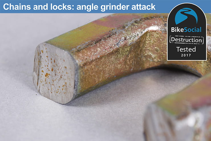 Abus Granit Power Chain 37 after angle grinder attack