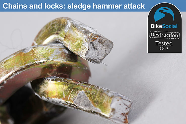 Abus Platinum Chain 34 after a sledge hammer attack