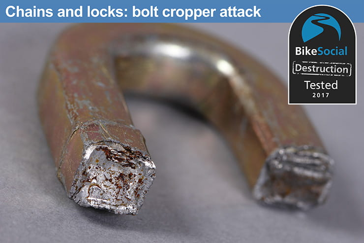 Oxford HD chain and padlock after a bolt cropper attack
