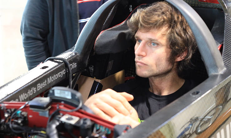Guy Martin in his record attemping Triumph motorcycle