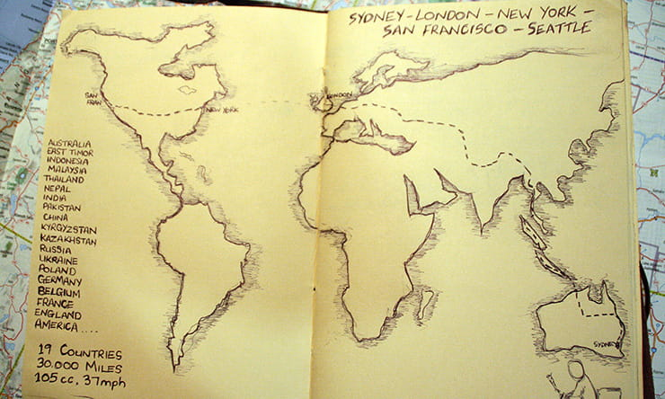 a hand drawn map of the world