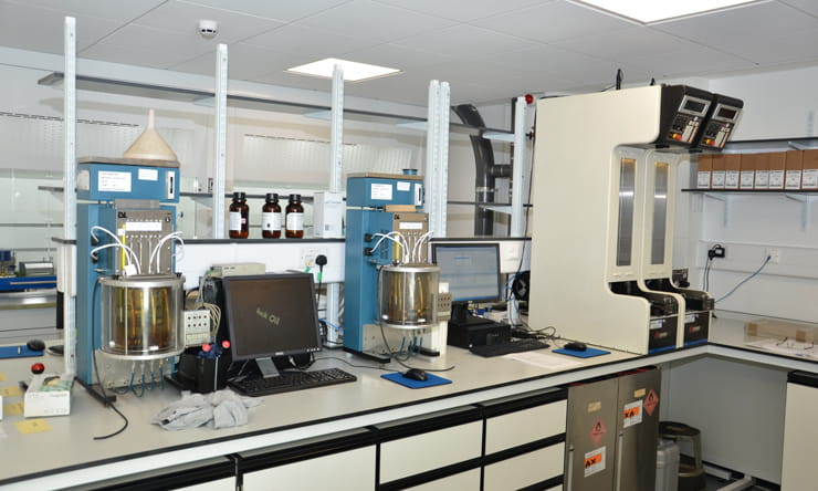 Viscometers in a laboratory