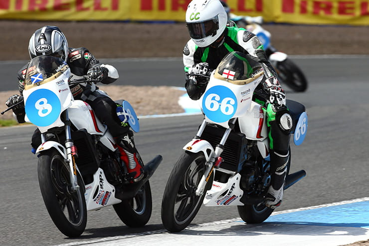 Two Pro-Am race bikes come together at Knockhill motor racing circuit