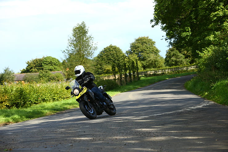 Suzuki V-Strom 250 ridden down a country lane