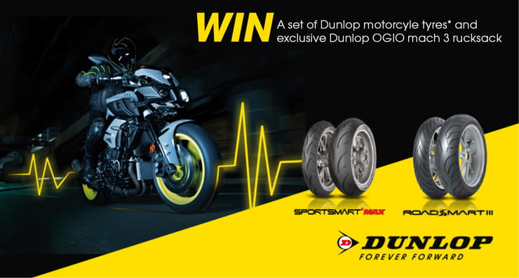 Win Dunlop tyres and bag with Bennetts Bike Insurance