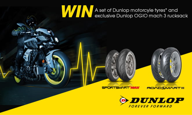 Dunlop tyre and rucksack competition Bennetts Bike Insurance