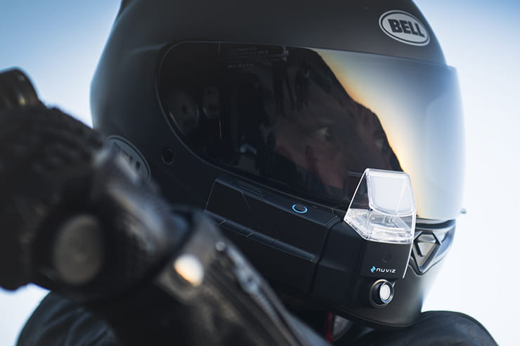 The NuViz Head Up Display fitted to a helmet