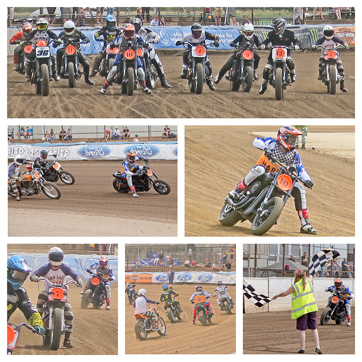 motorcycles race around a track at Dirt Quake 2017