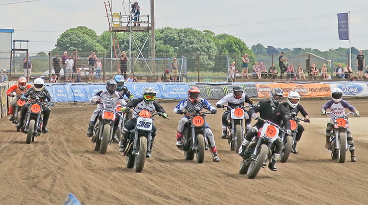 The riders head into the first corner at Dirt Quake 2017