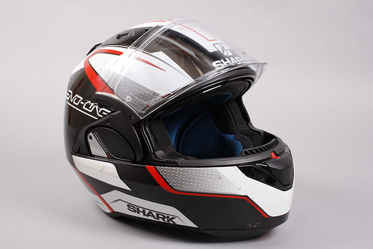 Evo-One motorcycle helmet visor open