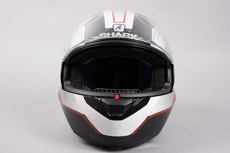 Evo-One motorcycle helmet front view visor open
