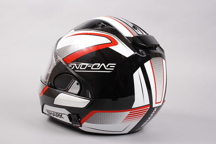 Evo-One motorcycle helmet rear view visor closed