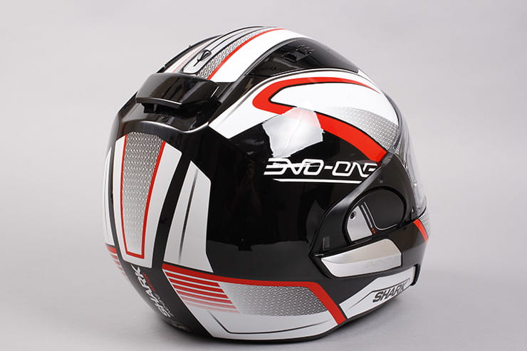 Evo-One motorcycle helmet rear right view visor closed