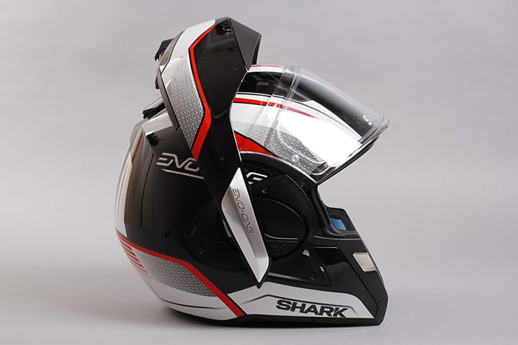 Evo-One motorcycle helmet flip front vertical