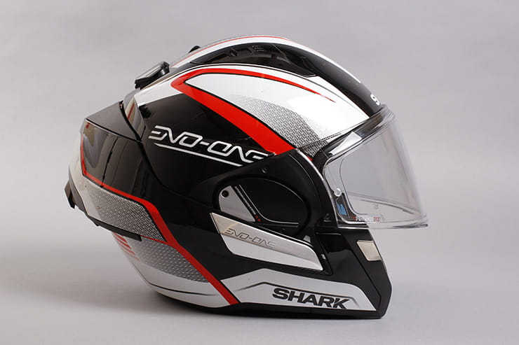 Evo-One motorcycle helmet flip front at the rear with the visor down