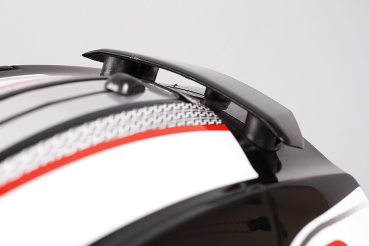 Evo-One motorcycle helmet rear ventilation