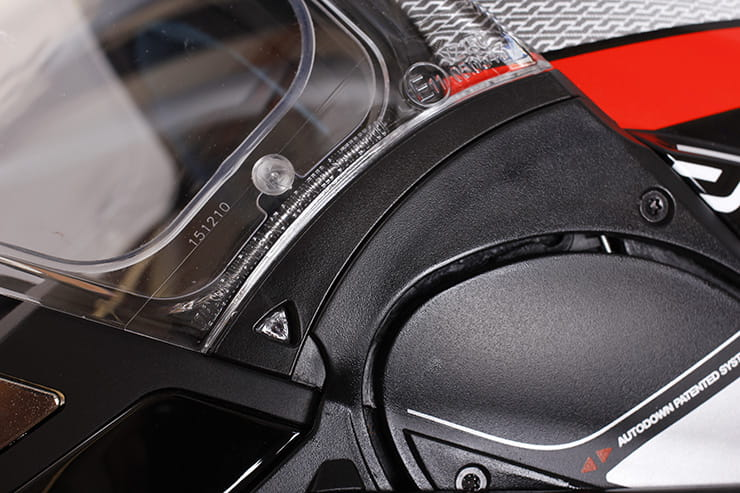 Evo-One motorcycle helmet visor opening mechanism