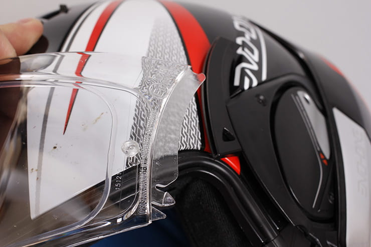 Evo-One motorcycle helmet visor opening mechanism opened