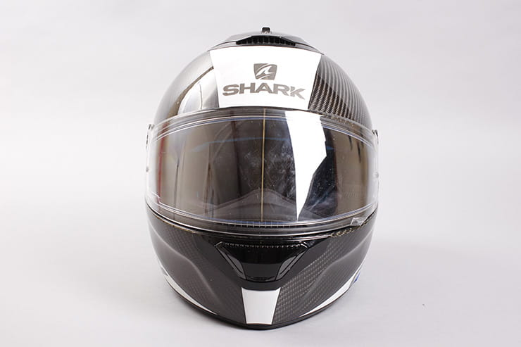 Tested: Shark Spartan helmet review front view visor down