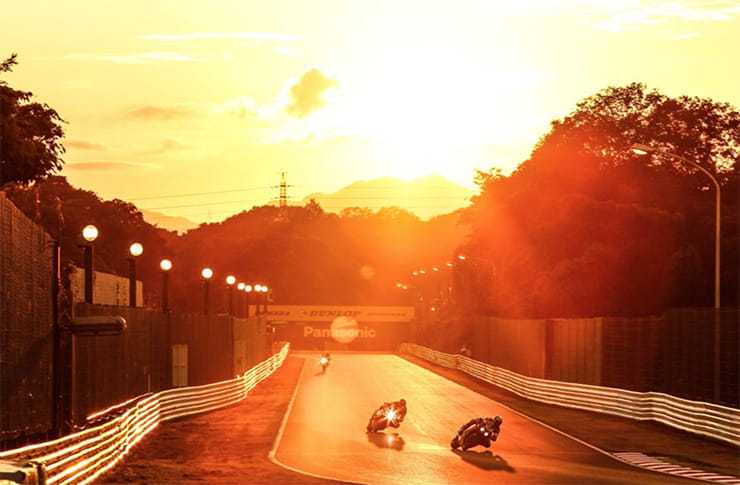 The sun sets over the Suzuka 8 hour race in Japan