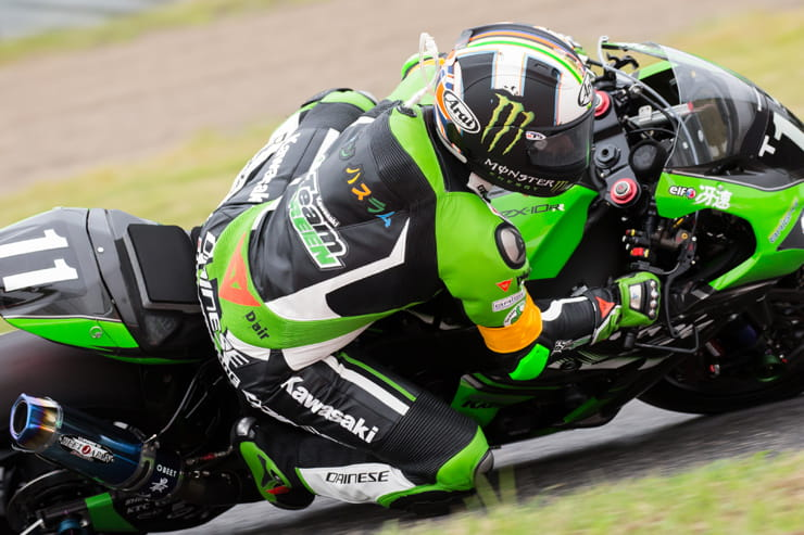 Leon Haslam rides a Kawasaki at the Suzuka 8 hours endurance race
