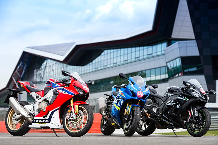 Three superbikes on track at Silverstone