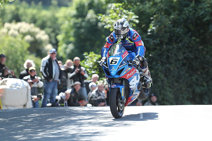 Michael Dunlop over Ballaugh Bridge while leading the 2017 Superbike race