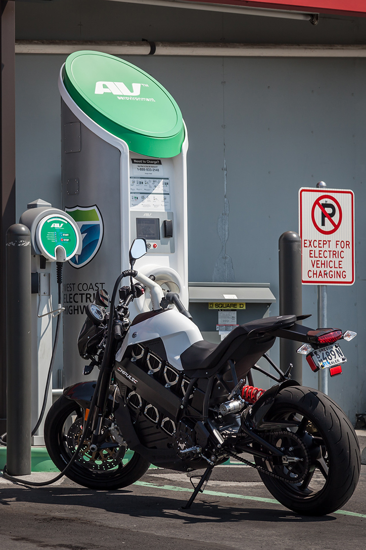 Brammo Empulse at an electric charging station