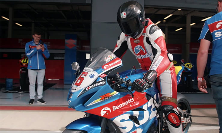 Michael Mann rides the BSB Suzuki race bike