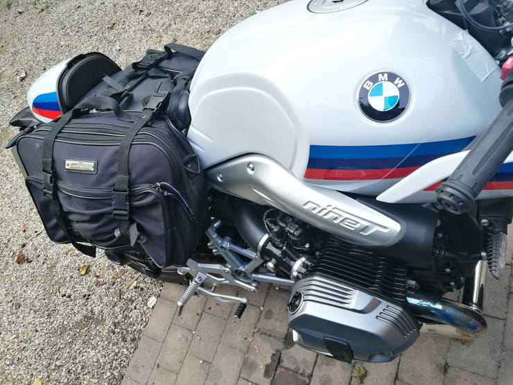BMW 2017 R NineT Racer with luggage attached