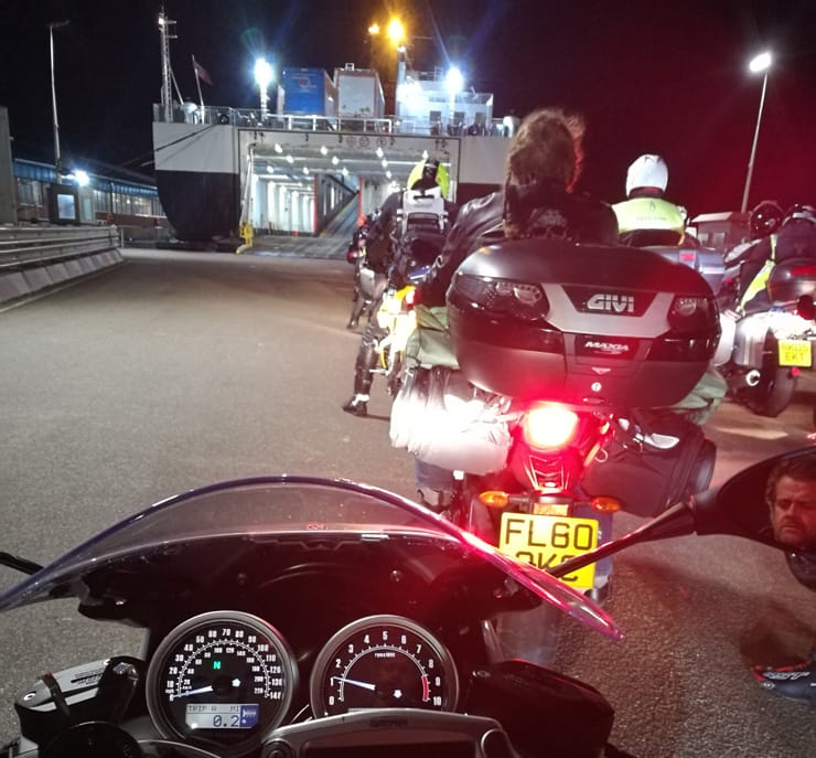 Waiting to board the ferry with the BMW 2017 R NineT Racer