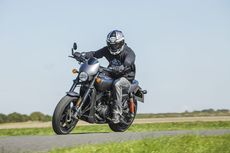 2017 Harley-Davidson Street Rod cornering on a fen road f