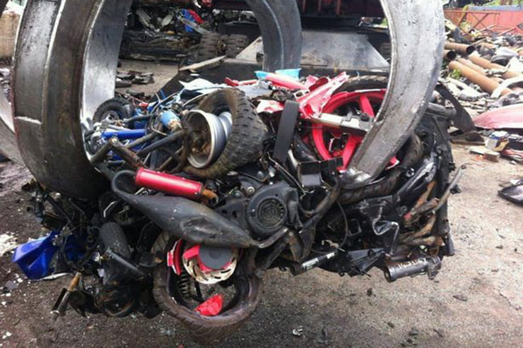 crushed motorcycles