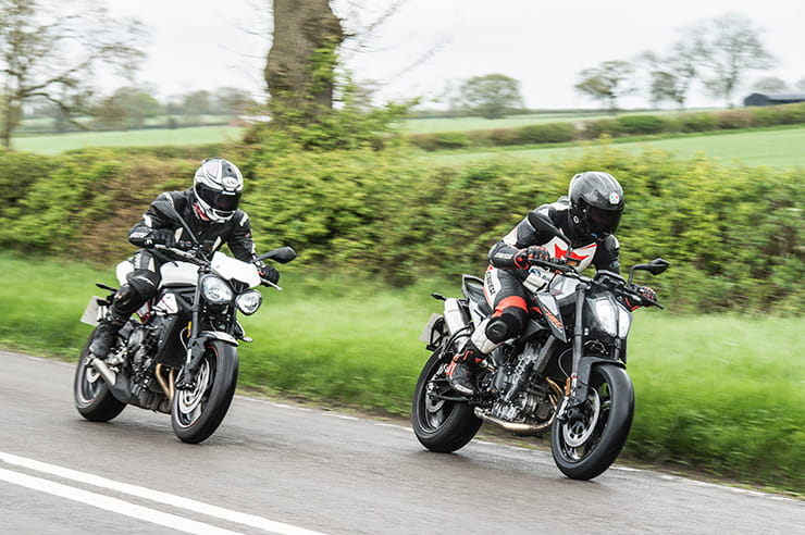 KTM 790 Duke vs Triumph Street Triple R road test review