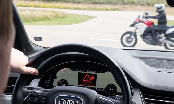 Ducati, Audi and Ford demonstrate car-to-bike safety tech