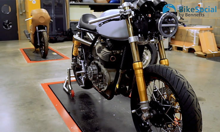 Two stripped Royal Enfield Continental GTs