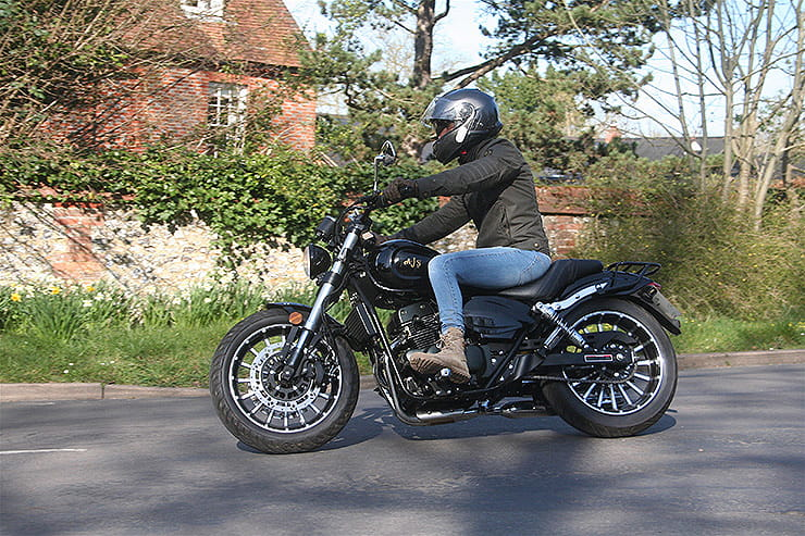 A 125cc cruiser from AJS – surely a contradiction in terms. Full of chrome and big slash cut pipes for under £3k