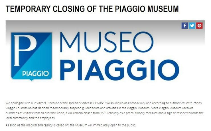 Ducati and Piaggio museums closed as Coronavirus spreads in Italy