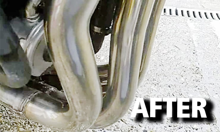 Your bikes downpipes are perfectly placed to get a faceful of whatever the front wheel flicks at them – spray, salt, grit. Here