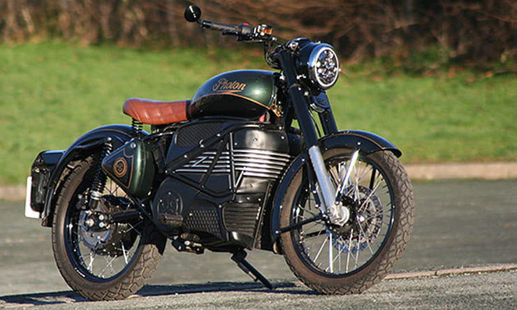 An electrified version of the Royal Enfield Bullet, known as the Photon, built by Electric Classic Cars – and we've ridden it