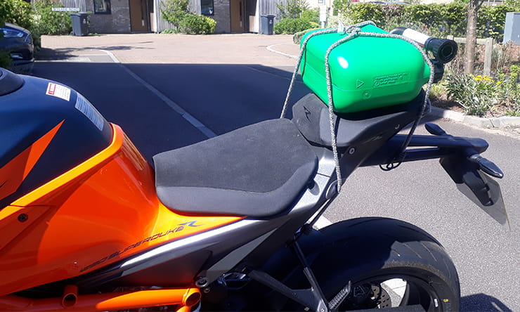 If your bike has a small fuel tank carrying a reserve supply of petrol is a good idea. Here