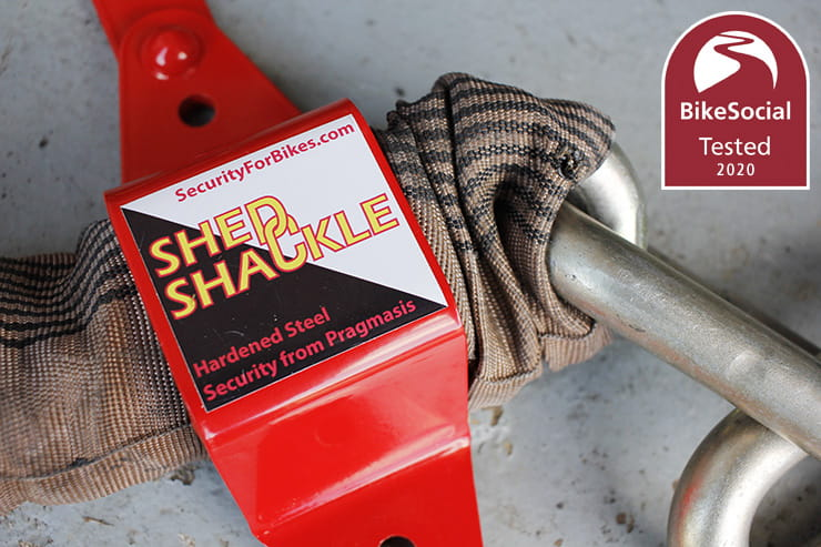 With sheds now under the garage clause at Bennetts motorcycle insurance, the Pragmasis shed shackle is a good alternative to a traditional ground anchor
