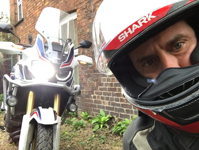 Steve Rose with Africa Twin. Not in Africa incidentallly