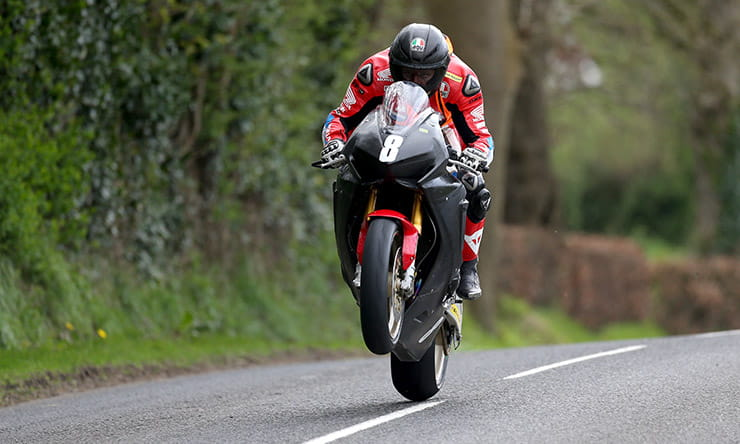 Guy Martin over the Cabra Jump in practice for Tandragee 100 road races