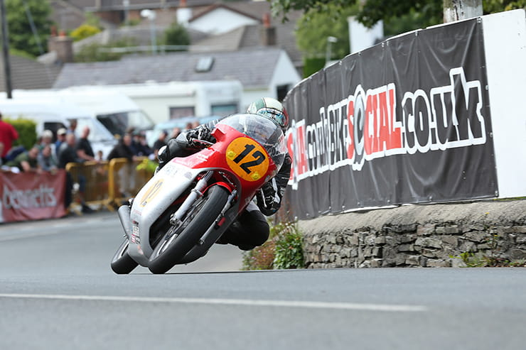Dean Harrison on the Black Eagle Racing 500 MV Agusta at Ginger Hall during the Bennetts 500cc Classic TT race.