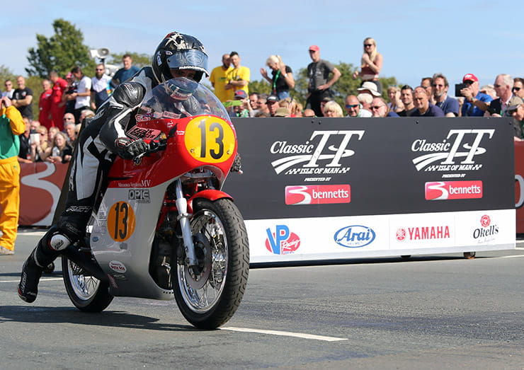 Lee Johnston (Black Eagle MV Agusta) on the start line of the 500cc Classic TT race