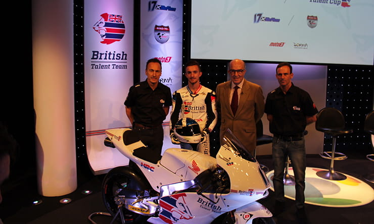 British Talent Cup announcement (l-r, McWilliams, McPhee, Ezpeleta, Puig)