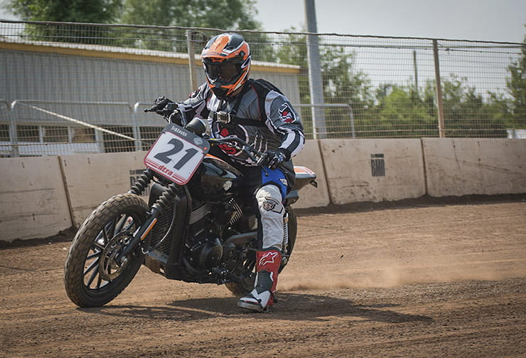 Kane Dalton learns to ride flat-track